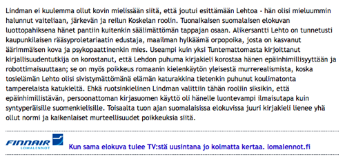 Finnairin mainos